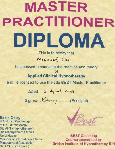 Master pract dip clinical hypno
